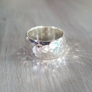 Silpada Hammered sterling silver wide band ring